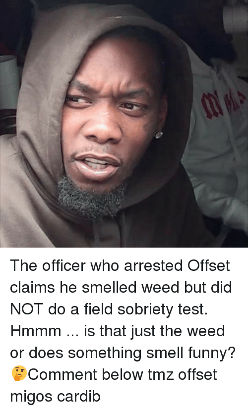 Funny, Memes, and Migos: The officer who arrested Offset claims he smelled weed but did NOT do a field sobriety test. Hmmm ... is that just the weed or does something smell funny? 🤔Comment below tmz offset migos cardib