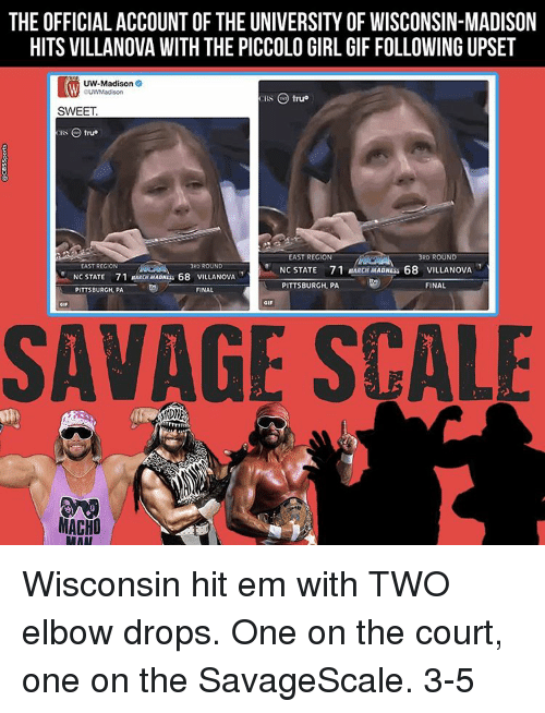 itw: THE OFFICIAL ACCOUNT OF THE UNIVERSITY OF WISCONSIN-MADISON  HITS VILLANOVA WITH THE PICCOLO GIRL GIF FOLLOWING UPSET  ITW UW-Madison  CBS C true  SWEET  RS O true  EAST REGION  RD ROUND  EAST REGION  RD ROUND  NC STATE 71 MARCHMADNEss 68 VILLANOVA  NC STATE 71 RARON MADNLs  68 VILLANOWA  FINAL  PITTSBURGH, PA  PITTSBURGH, PA  FINAL  SAVAGE SCALE  MACHO  RAAT Wisconsin hit em with TWO elbow drops. One on the court, one on the SavageScale. 3-5
