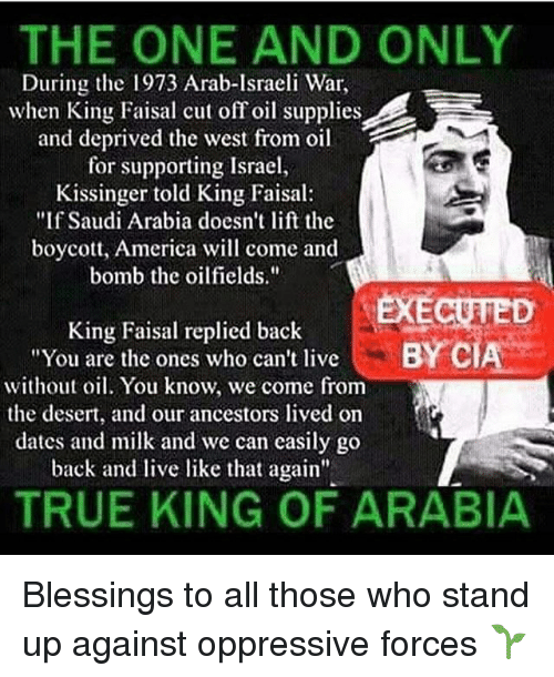 """America, Memes, and True: THE ONE AND ONLY  During the 1973 Arab-Israeli War,  when King Faisal cut off oil supplies  and deprived the west from oil  for supporting Israel  Kissinger told King Faisal:  """"If Saudi Arabia doesn't lift the  boycott, America will come and  bomb the oilfields.""""  EXECUTED  King Faisal replied back  """"You are the ones who can't live  without oil. You know, we come from  the desert, and our ancestors lived on  dates and milk and we can casily go  back and live like that again""""  BY C  TRUE KING OF ARABIA Blessings to all those who stand up against oppressive forces 🌱"""