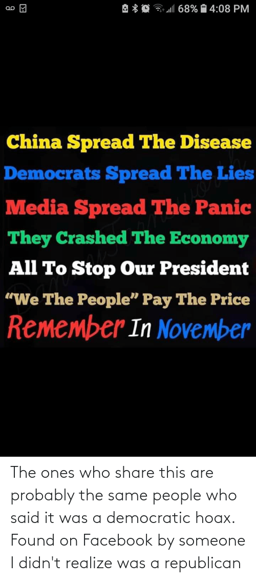 a republican: The ones who share this are probably the same people who said it was a democratic hoax. Found on Facebook by someone I didn't realize was a republican