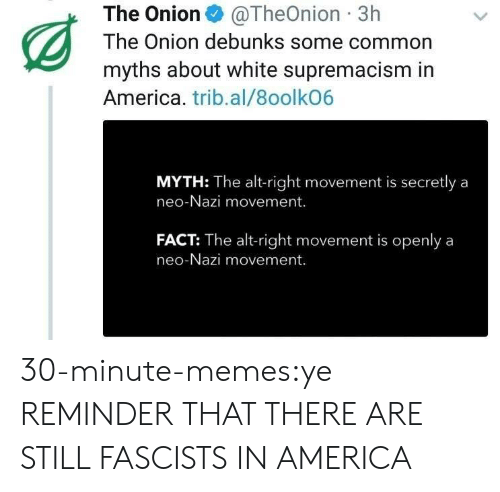 Onion: The Onion@TheOnion 3h  The Onion debunks some common  myths about white supremacism in  America. trib.al/8oolkO6  MYTH: The alt-right movement is secretly a  neo-Nazi movement.  FACT: The alt-right movement is openlya  neo-Nazi movement. 30-minute-memes:ye REMINDER THAT THERE ARE STILL FASCISTS IN AMERICA