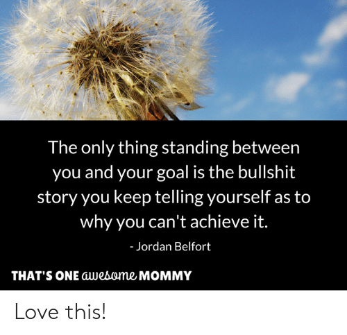 Jordan Belfort, Love, and Memes: The only thing standing between  you and your goal is the bullshit  story you keep telling yourself as to  why you can't achieve it.  Jordan Belfort  THAT'S ONE awebome MOMMY Love this!
