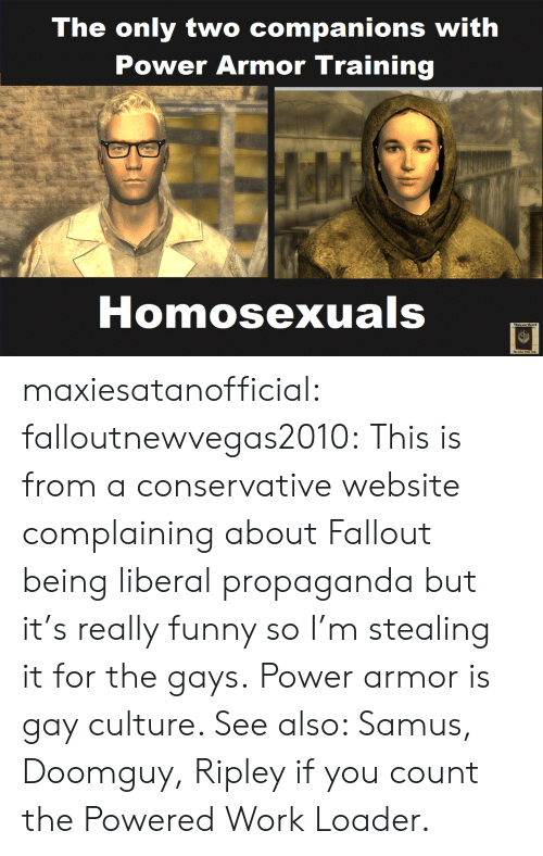 Funny, Tumblr, and Work: The only two companions with  Power Armor Training  Homosexuals  Stecl he with you maxiesatanofficial: falloutnewvegas2010: This is from a conservative website complaining about Fallout being liberal propaganda but it's really funny so I'm stealing it for the gays. Power armor is gay culture. See also: Samus, Doomguy, Ripley if you count the Powered Work Loader.