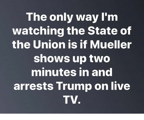 Live, Trump, and The State: The only way I'm  watching the State of  the Union is if Mueller  shows up two  minutes in and  arrests Trump on live  TV.