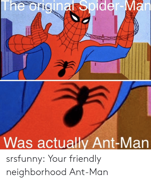 Spider, Tumblr, and Blog: The origina Spider-  Was actually Ant-Man srsfunny:  Your friendly neighborhood Ant-Man