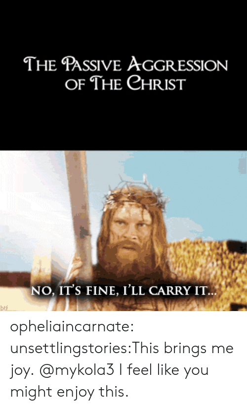 Tumblr, Blog, and Http: THE PASSIVE AGGRESSION  OF THE CHRIST  NO, IT'S FINE, I'LL CARRY IT...  btf opheliaincarnate:  unsettlingstories:This brings me joy.  @mykola3 I feel like you might enjoy this.