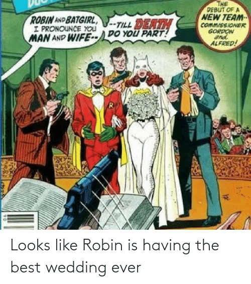 Death: THE  PEBUT OF A  NEW TEAM  COMM/SSIONER  GORDON  ROBIN AND BATGIRL,  I PRONOUNCE YOU  MAN AND WIFE--DO YOU PART!  -TILL DEATH  ALFRED! Looks like Robin is having the best wedding ever