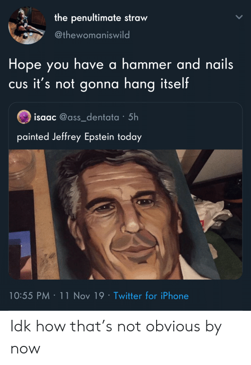 Nails: the penultimate straw  @thewomaniswild  Hope you have a hammer and nails  CUs it's not gonna hang itself  isaac @ass_dentata 5h  painted Jeffrey Epstein today  10:55 PM 11 Nov 19 Twitter for iPhone Idk how that's not obvious by now