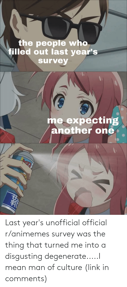 the thing: the people who  filled out last year's  survey  me expecting  another one Last year's unofficial official r/animemes survey was the thing that turned me into a disgusting degenerate.....I mean man of culture (link in comments)