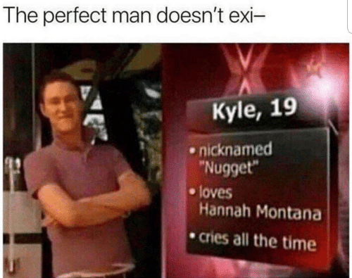 """Montana: The perfect man doesn't exi-  Kyle, 19  nicknamed  """"Nugget""""  loves  Hannah Montana  cries all the time"""