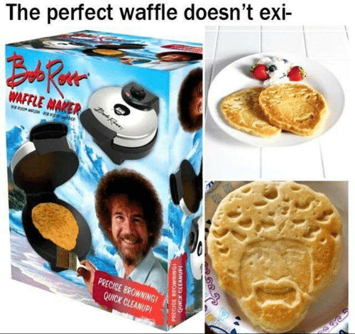 Memes, 🤖, and Waffle: The perfect waffle doesn't exi-  PRECISE BROWNINGI  QUICK CLEANUP