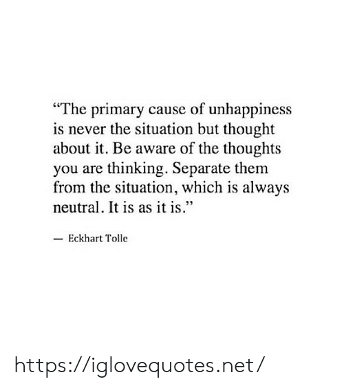 """Never, Thought, and Eckhart Tolle: """"The primary cause of unhappiness  is never the situation but thought  about it. Be aware of the thoughts  you are thinking. Separate them  from the situation, which is always  neutral. It is as it is""""  -Eckhart Tolle https://iglovequotes.net/"""