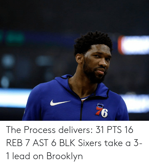 Brooklyn, Sixers, and Lead: The Process delivers:  31 PTS 16 REB 7 AST 6 BLK  Sixers take a 3-1 lead on Brooklyn