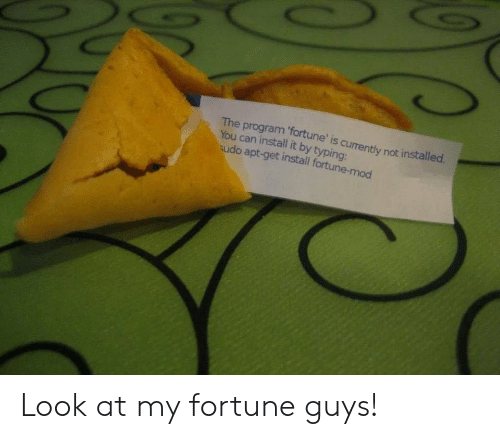 typing: The program 'fortune' is currently not installed  You can install it by typing:  udo apt-get install fortune-mod Look at my fortune guys!