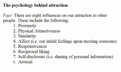 Affect, Information, and Psychology: The psychology behind attraction  Fact: There are eight influences on our attraction to other  people. These include the following  1. Proximity  2. Physical Attractiveness  3. Similarity  4. Affect (i.e. our initial feelings upon meeting someone)  5. Responsiveness  6. Reciprocal liking  7. Self-disclosure (i.e. sharing of personal information)  8. Arousal