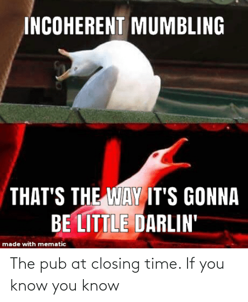 Pub: The pub at closing time. If you know you know