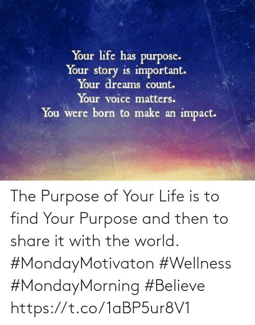 and then: The Purpose of Your Life is to find Your Purpose and then to share it with the world.   #MondayMotivaton #Wellness  #MondayMorning #Believe https://t.co/1aBP5ur8V1