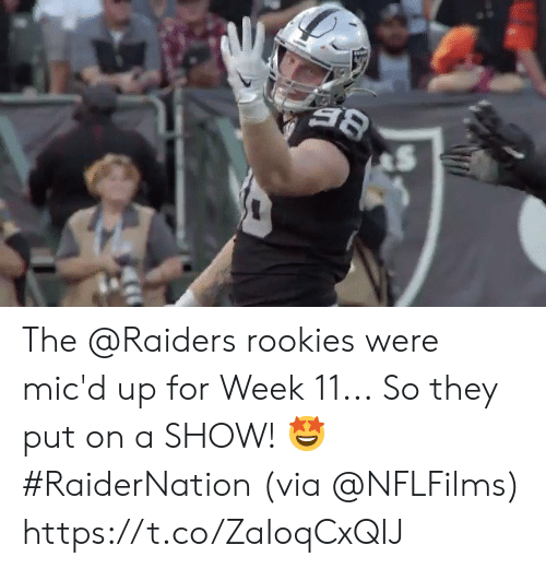 Memes, Raiders, and 🤖: The @Raiders rookies were mic'd up for Week 11...  So they put on a SHOW! 🤩 #RaiderNation (via @NFLFilms) https://t.co/ZaIoqCxQIJ