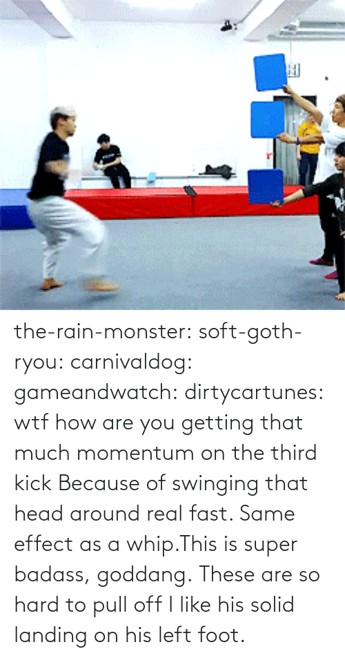 Real Fast: the-rain-monster:  soft-goth-ryou:  carnivaldog:  gameandwatch:  dirtycartunes:  wtf  how are you getting that much momentum on the third kick  Because of swinging that head around real fast. Same effect as a whip.This is super badass, goddang.  These are so hard to pull off  I like his solid landing on his left foot.