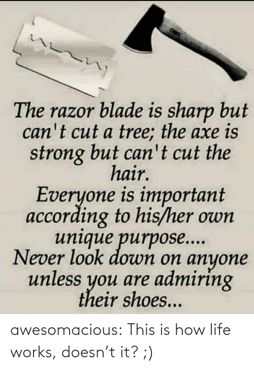 According To: The razor blade is sharp but  can't cut a tree; the axe is  strong but can't cut the  hair.  Everyone is important  according to his/her own  unique purpose...  Never look down on anyone  unless you are admiring  their shoes... awesomacious:  This is how life works, doesn't it? ;)