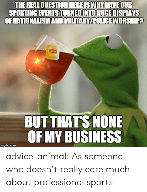 But Thats None Of My Business: THE REAL QUESTION HEREISWHY HAVE OUR  SPORTING EVENTSTURNEDINTO HUGE DISPLAYS  OFNATIONALISMAND MILTARY/POLICE WORSHIPA  BUT THATS NONE  OF MY BUSINESS advice-animal:  As someone who doesn't really care much about professional sports