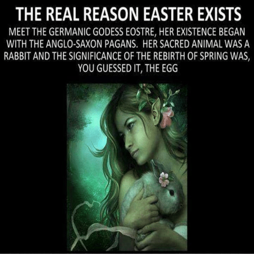 Saxon: THE REAL REASON EASTER EXISTS  MEET THE GERMANIC GODESS EOSTRE, HER EXISTENCE BEGAN  WITH THE ANGLO-SAXON PAGANS. HER SACRED ANIMAL WAS A  RABBIT AND THE SIGNIFICANCE OF THE REBIRTH 0F SPRING WAS  YOU GUESSED IT, THE EGG