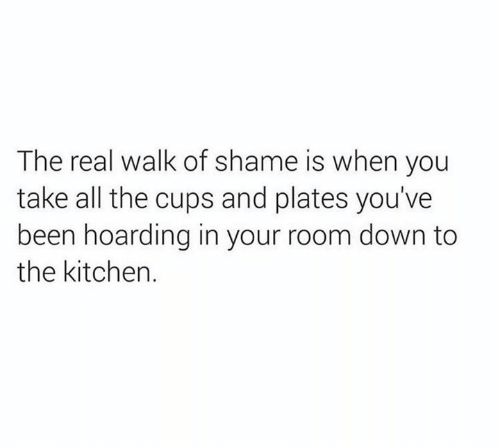 The Real, Walk of Shame, and All The: The real walk of shame is when you  take all the cups and plates you've  been hoarding in your room down to  the kitchen.