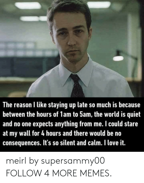 Dank, Love, and Memes: The reason I like staying up late so much is because  between the hours of 1am to 5am, the world is quiet  and no one expects anything from me. I could stare  at my wall for 4 hours and there would be no  consequences. It's so silent and calm. I love it. meirl by supersammy00 FOLLOW 4 MORE MEMES.