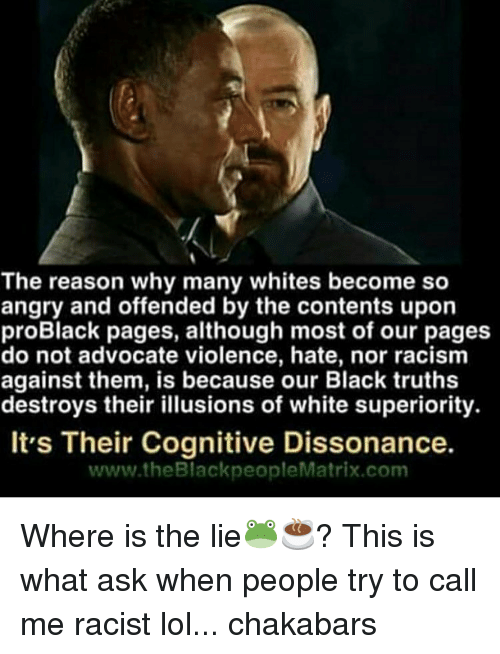 Memes, Racism, and Matrix: The reason why many whites become so  angry and offended by the contents upon  proBlack pages, although most of our pages  do not advocate violence, hate, nor racism  against them, is because our Black truths  destroys their illusions of white superiority.  It's Their Cognitive Dissonance.  www.theBlackpeople Matrix com Where is the lie🐸☕️? This is what ask when people try to call me racist lol... chakabars