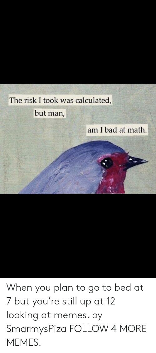 Risk I Took Was Calculated But Man Am I Bad At Math: The risk I took was calculated,  but man,  am I bad at math. When you plan to go to bed at 7 but you're still up at 12 looking at memes. by SmarmysPiza FOLLOW 4 MORE MEMES.