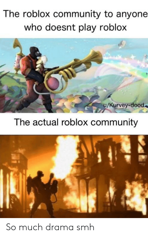 Community, Smh, and Dank Memes: The roblox community to anyone  who doesnt play roblox  u/Kurvey-dood  The actual roblox community So much drama smh