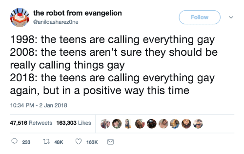 Evangelion, Gay, and Robot: the robot from evangelion  Follow  @anildasharez0ne  1998: the teens are calling everything gay  2008: the teens aren't sure they should be  really calling things gay  2018: the teens are calling everything gay  again, but in a positive way this timee  10:34 PM - 2 Jan 2018  47,516 Retweets 163,303 Likes  233 t 48K 163K