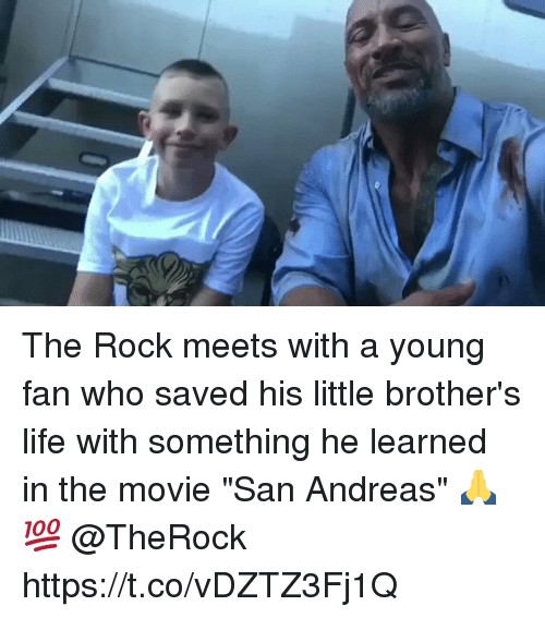 """fanning: The Rock meets with a young fan who saved his little brother's life with something he learned in the movie """"San Andreas"""" 🙏💯 @TheRock https://t.co/vDZTZ3Fj1Q"""