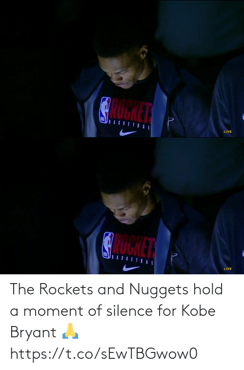 nuggets: The Rockets and Nuggets hold a moment of silence for Kobe Bryant 🙏 https://t.co/sEwTBGwow0
