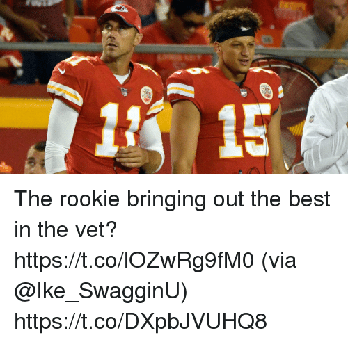 vetting: The rookie bringing out the best in the vet? https://t.co/lOZwRg9fM0 (via @Ike_SwagginU) https://t.co/DXpbJVUHQ8