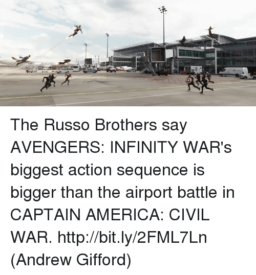 Captain America: Civil War: The Russo Brothers say AVENGERS: INFINITY WAR's biggest action sequence is bigger than the airport battle in CAPTAIN AMERICA: CIVIL WAR. http://bit.ly/2FML7Ln  (Andrew Gifford)