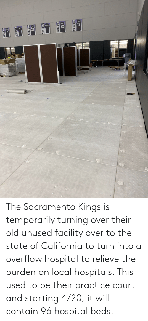 burden: The Sacramento Kings is temporarily turning over their old unused facility over to the state of California to turn into a overflow hospital to relieve the burden on local hospitals. This used to be their practice court and starting 4/20, it will contain 96 hospital beds.