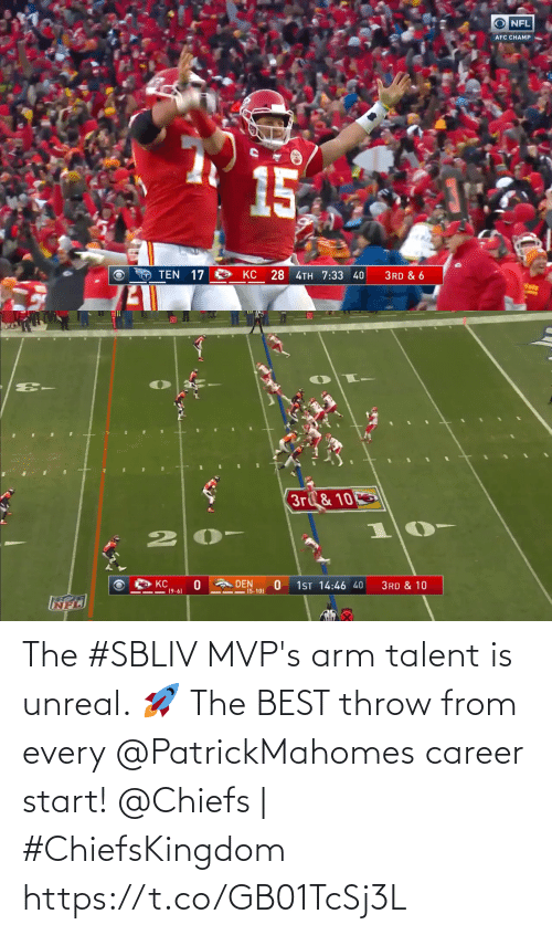 throw: The #SBLIV MVP's arm talent is unreal. 🚀  The BEST throw from every @PatrickMahomes career start!  @Chiefs | #ChiefsKingdom https://t.co/GB01TcSj3L