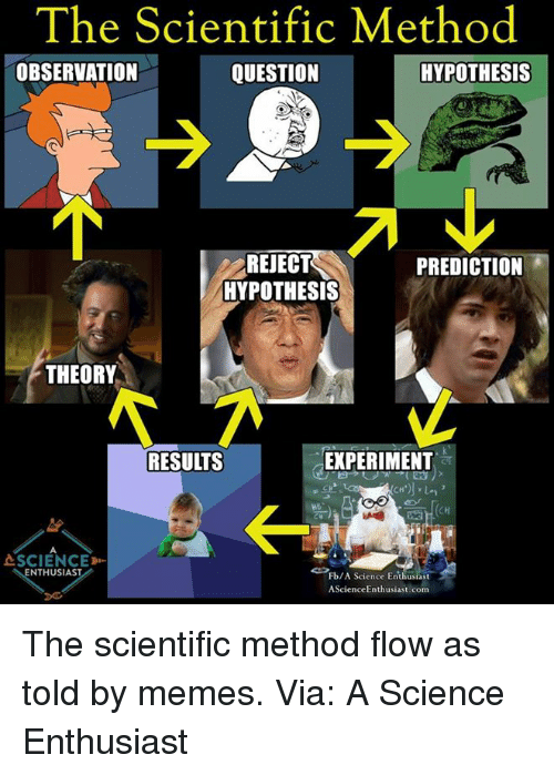 Observative: The Scientific Method  OBSERVATION  HYPOTHESIS  QUESTION  REJECT  PREDICTION  HYPOTHESIS  THEORY  EXPERIMENT  RESUITS  ASCIENCED-  NTHUSIAST  Fb/A Science Enthusiast  AScience Enthusiast com The scientific method flow as told by memes.  Via: A Science Enthusiast