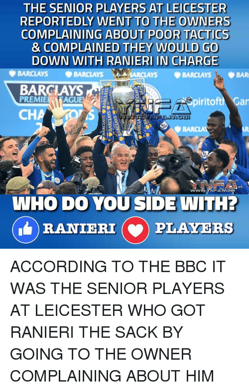 accordance: THE SENIOR PLAYERS AT LEICESTER  REPORTEDLY WENT TO THE OWNERS  COMPLAINING ABOUT POOR TACTICS  & COMPLAINED THEY WOULD GO  DOWN WITH RANIERI IN CHARGE  BARCLAYS  ARCLAYS BARCLAYS, BAR  BARCLAYS  PREMIE  AGUE  iritoftM Gar  CH  WHO DO YOU SIDE WITH?  RANIERI (v) PLAYERS ACCORDING TO THE BBC IT WAS THE SENIOR PLAYERS AT LEICESTER WHO GOT RANIERI THE SACK BY GOING TO THE OWNER COMPLAINING ABOUT HIM