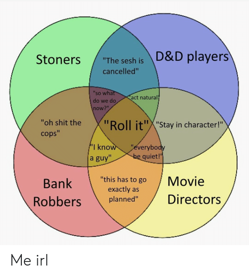 """Shit, Bank, and Movie: """"The sesh is D&D players  cancelled""""  'so wha  do we do  now?""""  act natural  """"oh shit the  cops""""  oll it""""X""""Stay in character!""""  I kno  a guy""""  everybo  quiet!'  Bank  """"this has to go Movie  exactly as  planned""""Directors Me irl"""