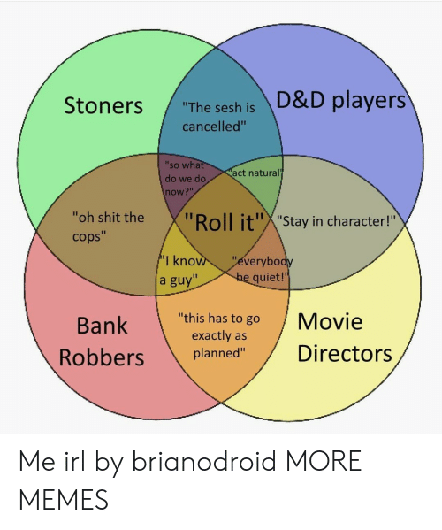 """oll: """"The sesh is D&D players  cancelled""""  'so wha  do we do  now?""""  act natural  """"oh shit the  cops""""  oll it""""X""""Stay in character!""""  I kno  a guy""""  everybo  quiet!'  Bank  """"this has to go Movie  exactly as  planned""""Directors Me irl by brianodroid MORE MEMES"""