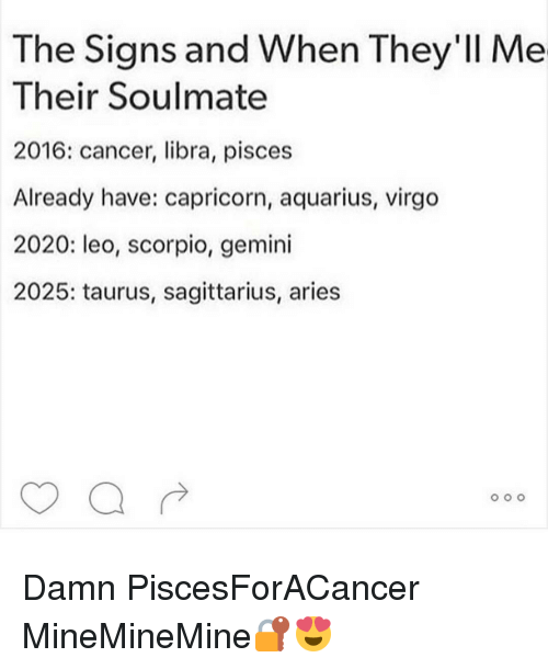 The Signs and When They'll Me Their Soulmate 2016 Cancer Libra