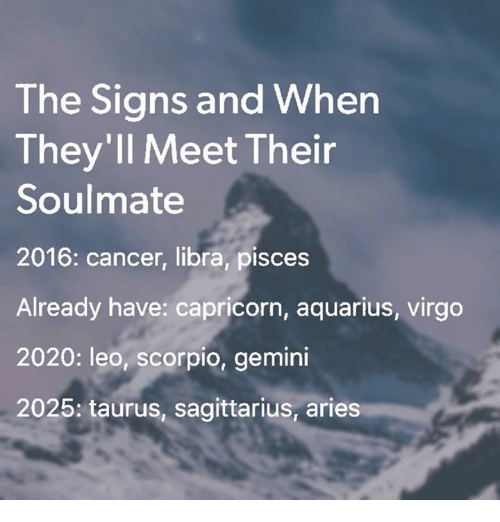 The Signs and When They'll Meet Their Soulmate 2016 Cancer Libra