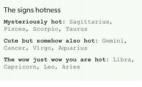 You Are Hot: The signs hotness  Mysteriously hot  Sagittarius  Pisces, Scorpio  Taurus  Cute but somehow also hot: Gemini  Cancer, Virgo, Aquarius  The wow just wow you are hot.  Libra  Capricorn, Leo, Aries