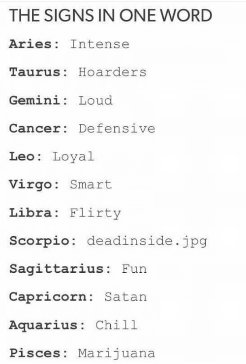leo: THE SIGNS IN ONE WORD  Aries Intense  Taurus: Hoarders  Gemini: Loud  Cancer: Defensive  Leo: Loyal  Virgo: Smart  Libra Flirty  Scorpio: deadinside.jpg  Sagittarius: Fun  Capricorn: Satan  Aquarius: Chill  Pisces: Marijuana