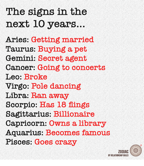 secret agent: The signs in the  next 10 years.  Aries: Getting married  Taurus: Buying a pet  Gemini: Secret agent  Cancer: Going to concerts  Leo  Broke  Virgo: Pole dancing  Libra:  Ran away  Scorpio  Has 18 flings  Sagittarius: Billionaire  Capricorn:  owns a library  Aquarius: Becomes famous  Pisces: Goes crazy  ZODIAC  BY RELATIONSHIP RULES