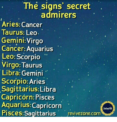 Aquarius, Aries, and Cancer: The signs' secret  admirers  Aries: Cancer  Taurus: Leo  Gemini: Virgo  Cancer: Aquarius  Leo: Scorpio  Virgo: Taurus  Libra: Gemini  Scorpio: Aries  Sagittarius: Libra  Capricorn: Pisces  Aquarius: Capricorn  Pisces:Sagittarius revivezone.com