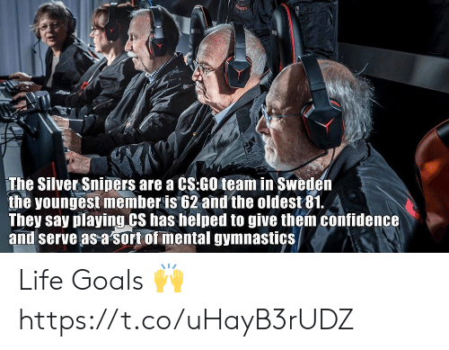 life goals: The Silver Sniners are a CS:GO team in Sweder  the youngest member is 62 and the oldest81. 4  They say playing CS has helped to give them confidence  and serve as a sort of mental gymnastics Life Goals 🙌 https://t.co/uHayB3rUDZ