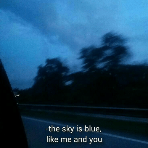 Likes Me: -the sky is blue,  like me and you